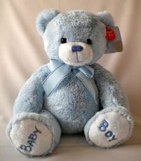 Nursery Bobby Bear. Blue 30cm soft toy